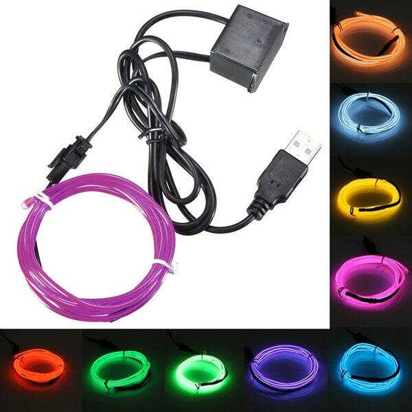 3m usb única cor 5v néon flexível el luz fio dança decoração do partido luz