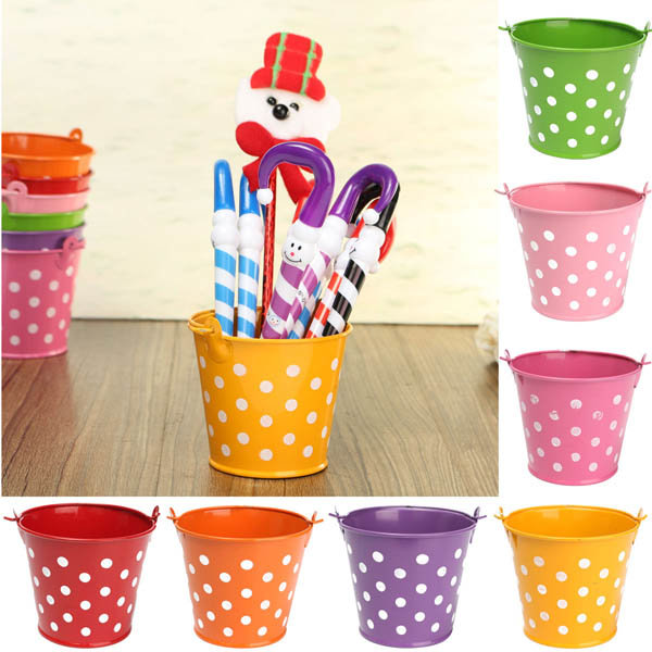 225 & Mini Polka Dot Iron Sheet Flower Pot Flower Potted Plant Flowerpot Garden Decoration