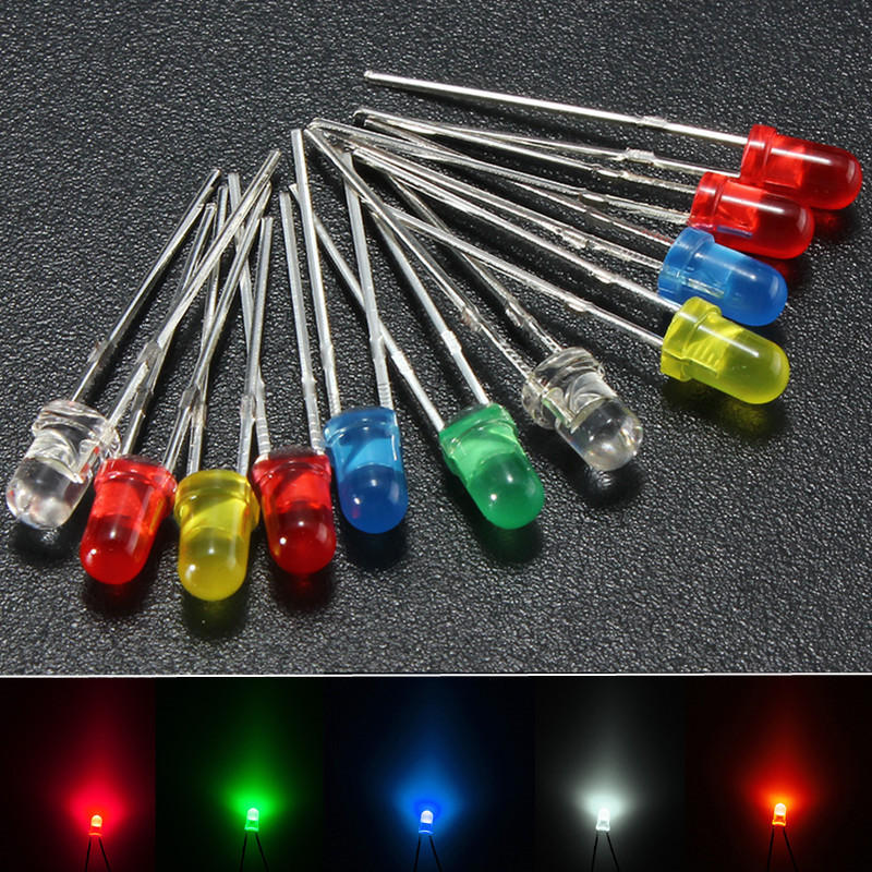 Hot 100pcs 3mm White Green Red Blue Yellow LED Light Bulb Emitting Diode Lamps