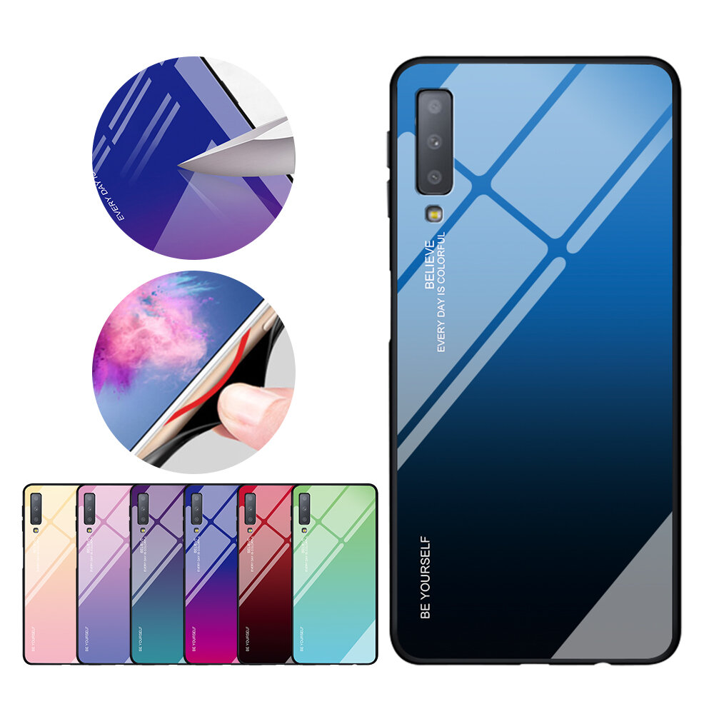 official photos a3a27 e04a6 Bakeey Gradient Tempered Glass Protective Case For Samsung Galaxy A7 2018  Scratch Resistant Back Cover