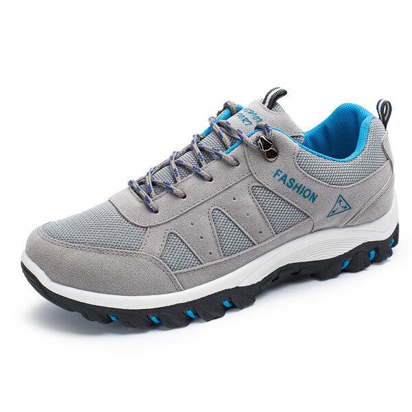 पुरुषों के आरामदायक आउटडोर खेल के जूते मेष सांस फ्लैट फीता ऊपर पुष्ट जूते चल रहा है