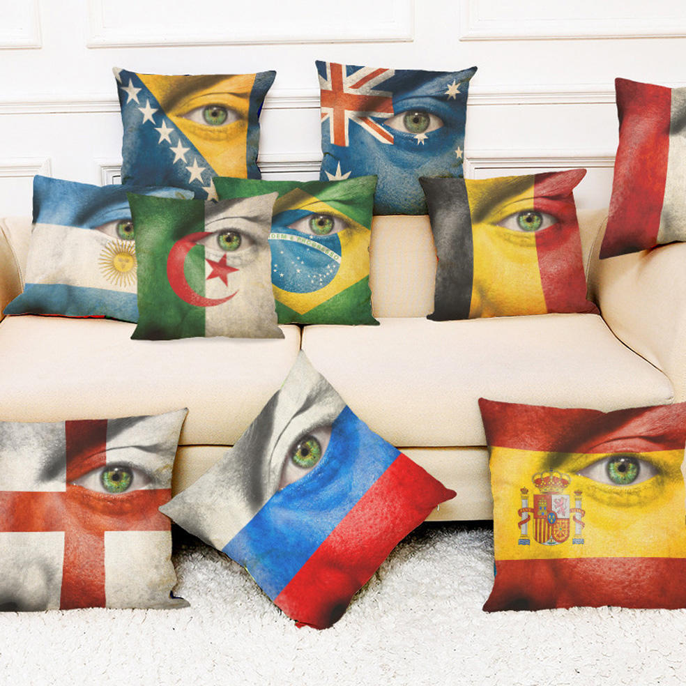 Honana The 2018 World Cup Cotton Linen Cushion Pillow Case Eye National Flag Pillow Covers for Home Bedroom Sofa Holiday Decor