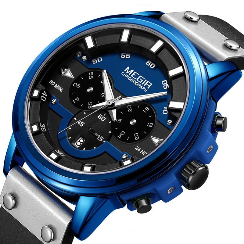 Megir208024Hoursتوقيتالأيديمضيئة ضد للماء جلدية الرياضة كوارتز ساعة اليد للرجال