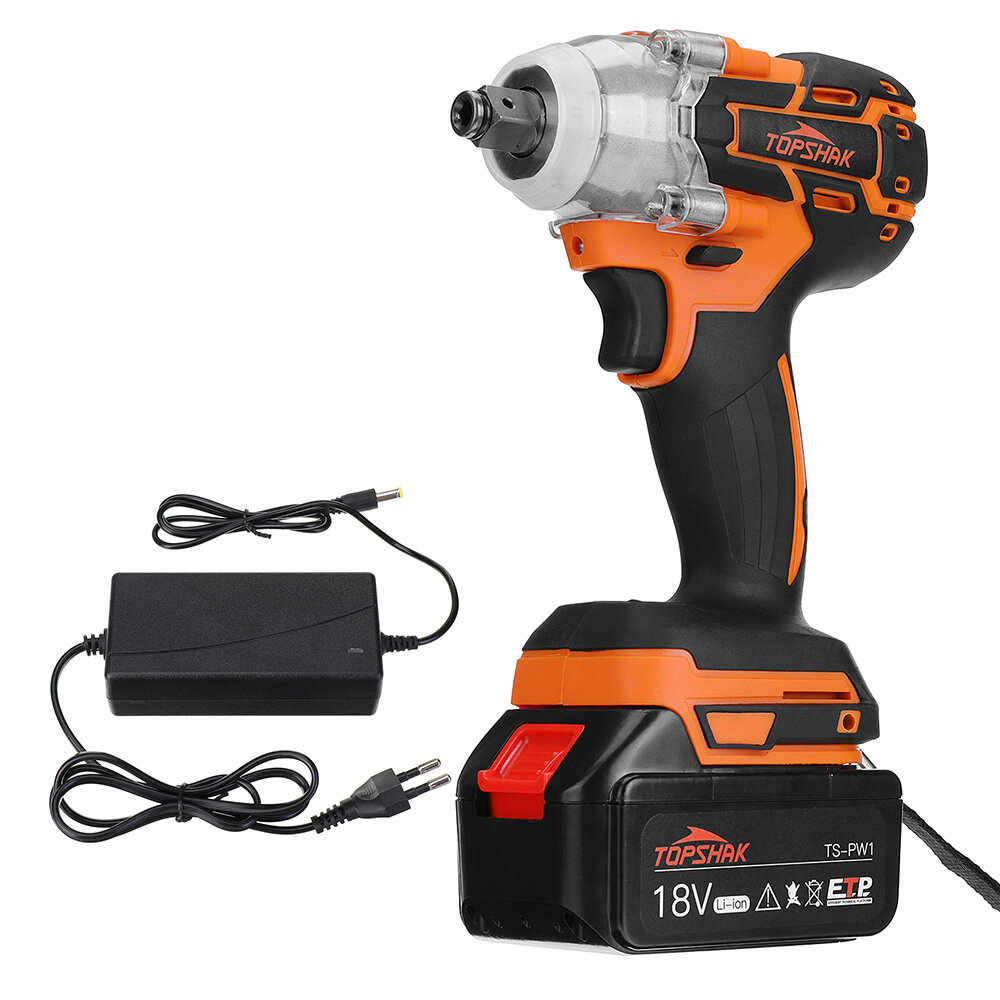 Topshak TS-PW1 Brushless Impact Wrench LED Working Light Rechargeable Woodworking Maintenance Tool...