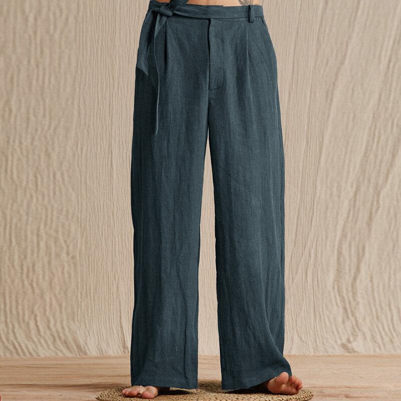 TWO-SIDED पुरुषों कपास सांस लेने योग्य लूज वाइड लेग पैंट आरामदायक ट्राउजर
