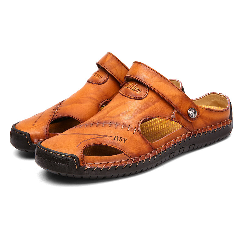 7580971a85e79 Menico Men Hand Stitching Hollow Out Leather Sandals