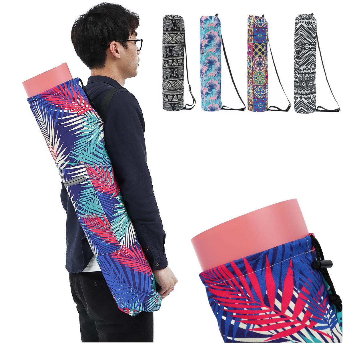 KALOAD Printed Pattern Canvas Yoga Bag Outdoor Sports Fitness Shoulder Bag Yoga Backpack