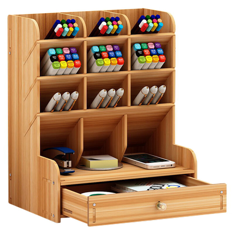 Wooden Desk Pen Holder Storage Rack with Multi-layered and Large Capacity Stationery Cosmetic Organizer Jewelry Display