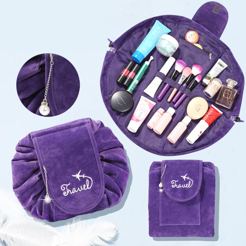 6646212f5546 Lazy Big Capacity Cosmetic Bag Flannel Drawstring Travel Makeup Storage Bag