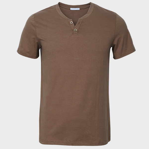 Men V-neck Solid Color Short Sleeve Slim Cotton Casual  T-shirt