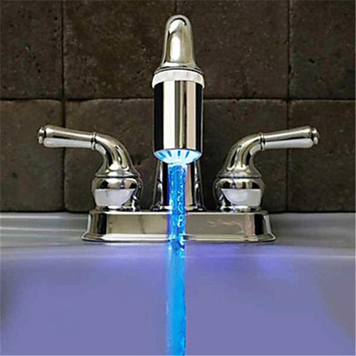 No Battery Water Faucet 3 Color Glow LED Temperature Sensor Tap
