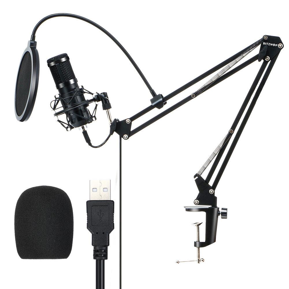 BlitzWolf® BW-CM2 Condenser Microphone USB Microphone Audio Dynamic System Kit Cantilever Bracket Anti-spray Net Set Sou