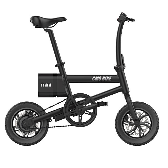 CMSBIKE mini 36V 250W 6AH 12inch Smart Folding Electric Bike 25km/h Max Speed Electric Bicycle With LED Power Display