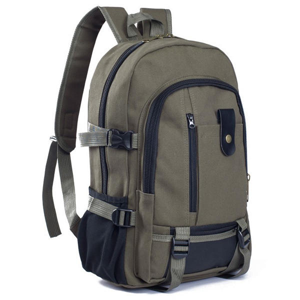 """Men Outdoor Trendy Canvas Travel Backpack Casual Rucksack Fits 14"""" Laptop"""