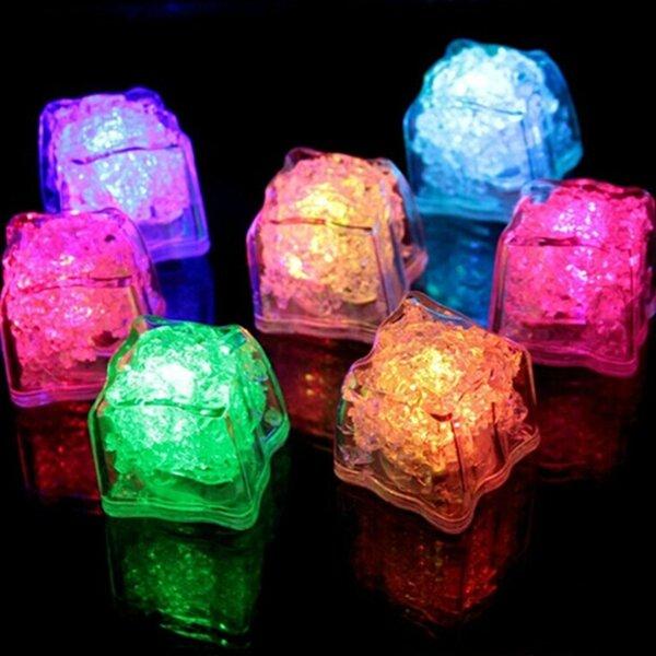 Battery Powered LED Ice Cube Colorful Flashing Light Liquid Sensor Submersible Decor for Bar Wedding