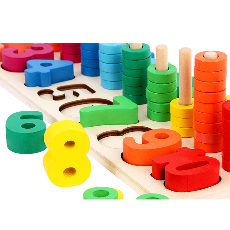 Children Wooden Learning To Count Numbers Matching Digital Shape Logarithmic Board Early Education Teaching Math Board Game Toy