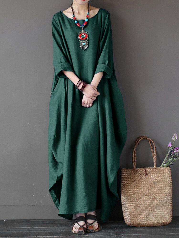 L-5XL Casual Women Loose Pure Color Baggy 3/4 Sleeve Maxi Dress