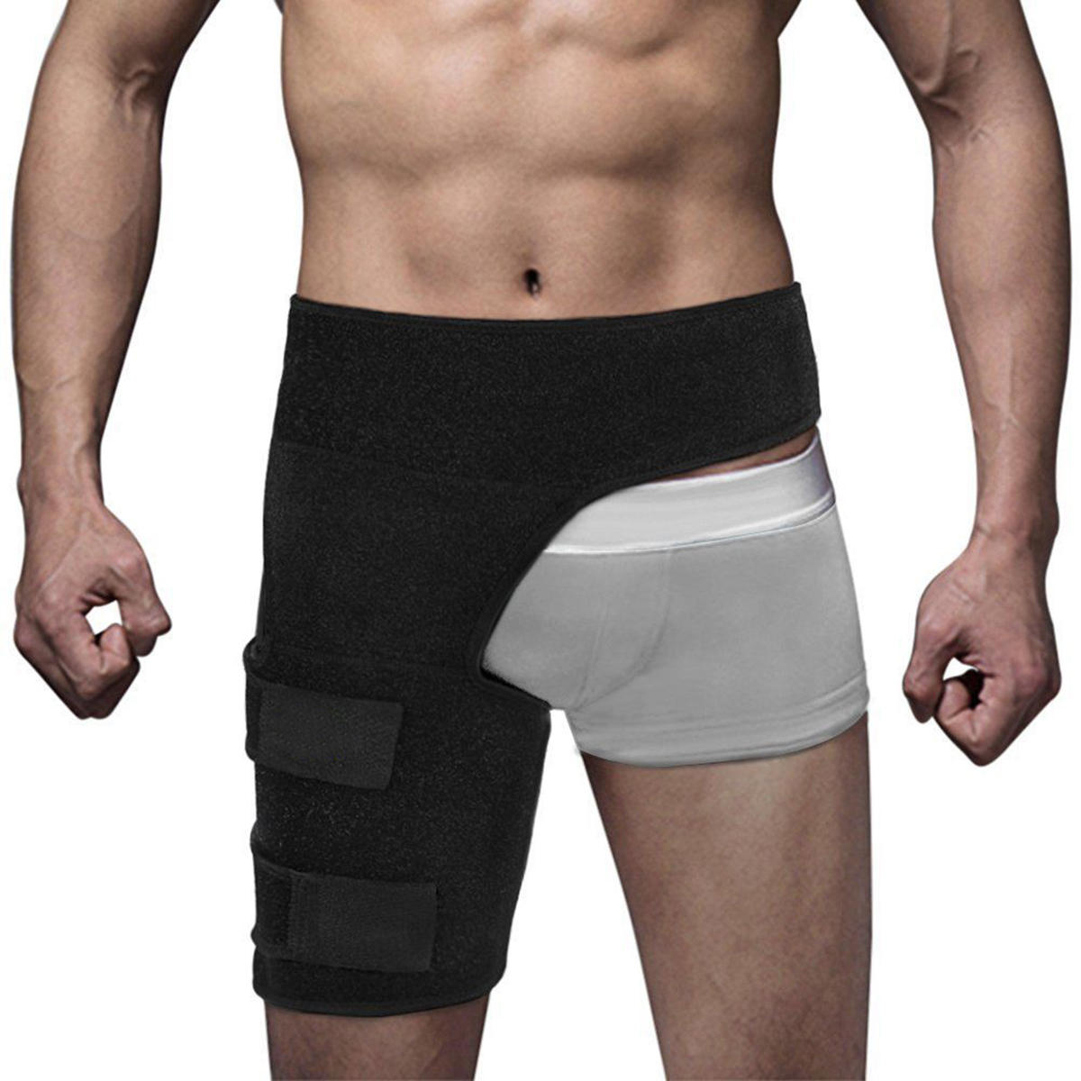 Thigh Support Compression Brace Wrap Black Sprains Therapy Groin Leg Hip Pain Relief