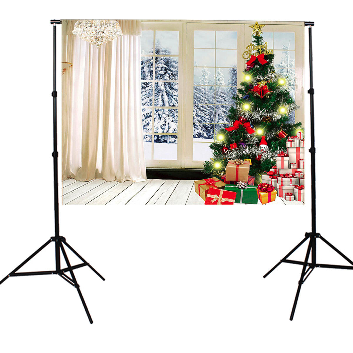 7X5FT Indoor White Christmas Theme Studio Photography Background Photographic Backdrop