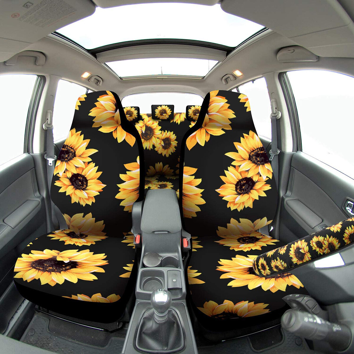 Universal Full Set Car Cover Fashion Sunflower Car Seat Cover With Safety...