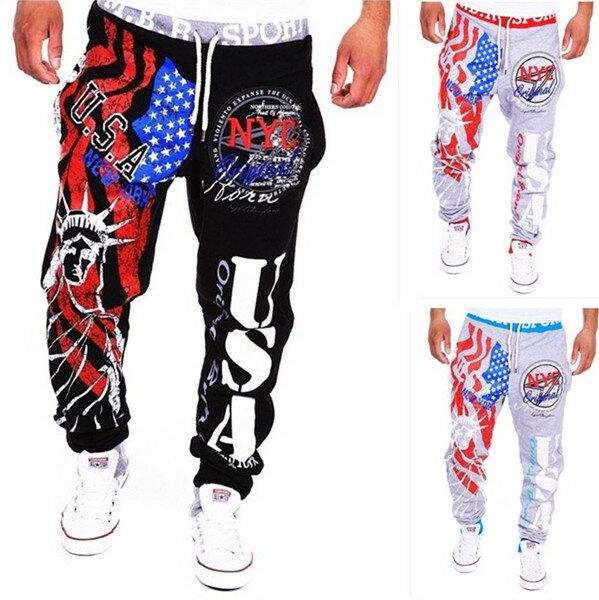 पुरुषों की फीता-अप फैशन स्पोर्ट्स जोगर पैंट स्टेच्यू ऑफ लिबर्टी अमेरिकन फ्लैग प्रिंटिंग हिप-हॉप