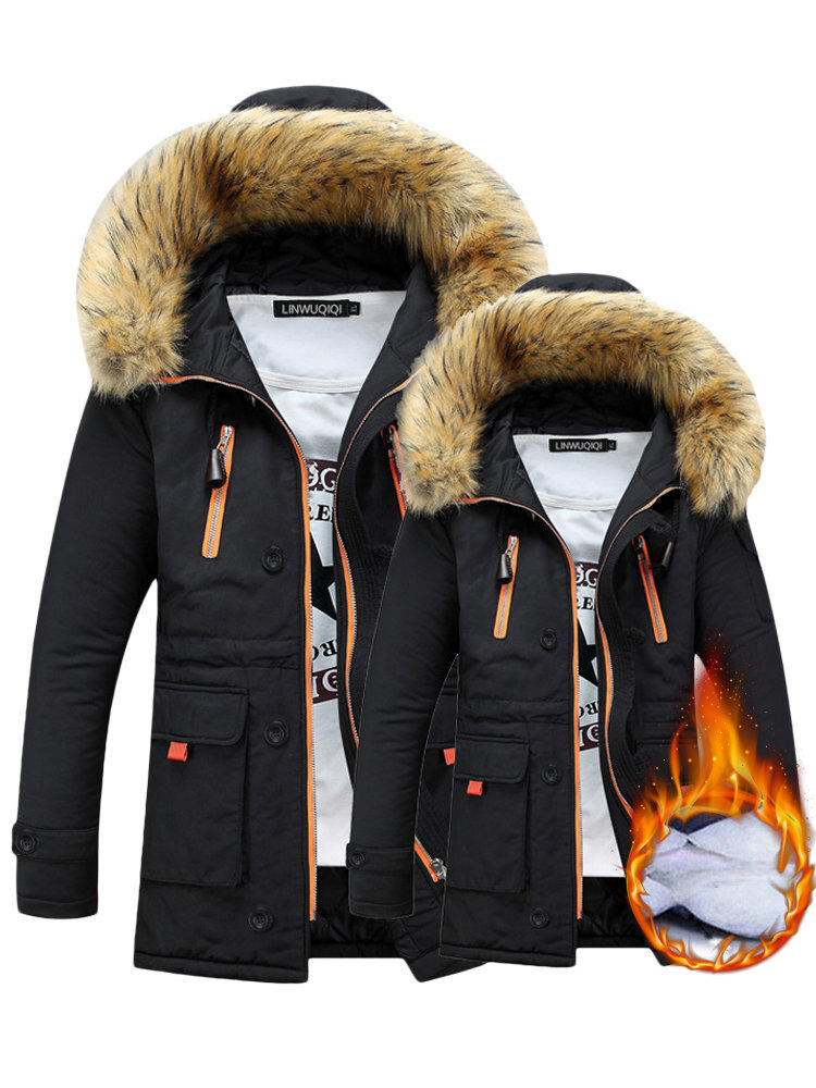 Winter Hooded Long Sleeve Thicken Warm Couple Coats ( Button and cap rope are random )