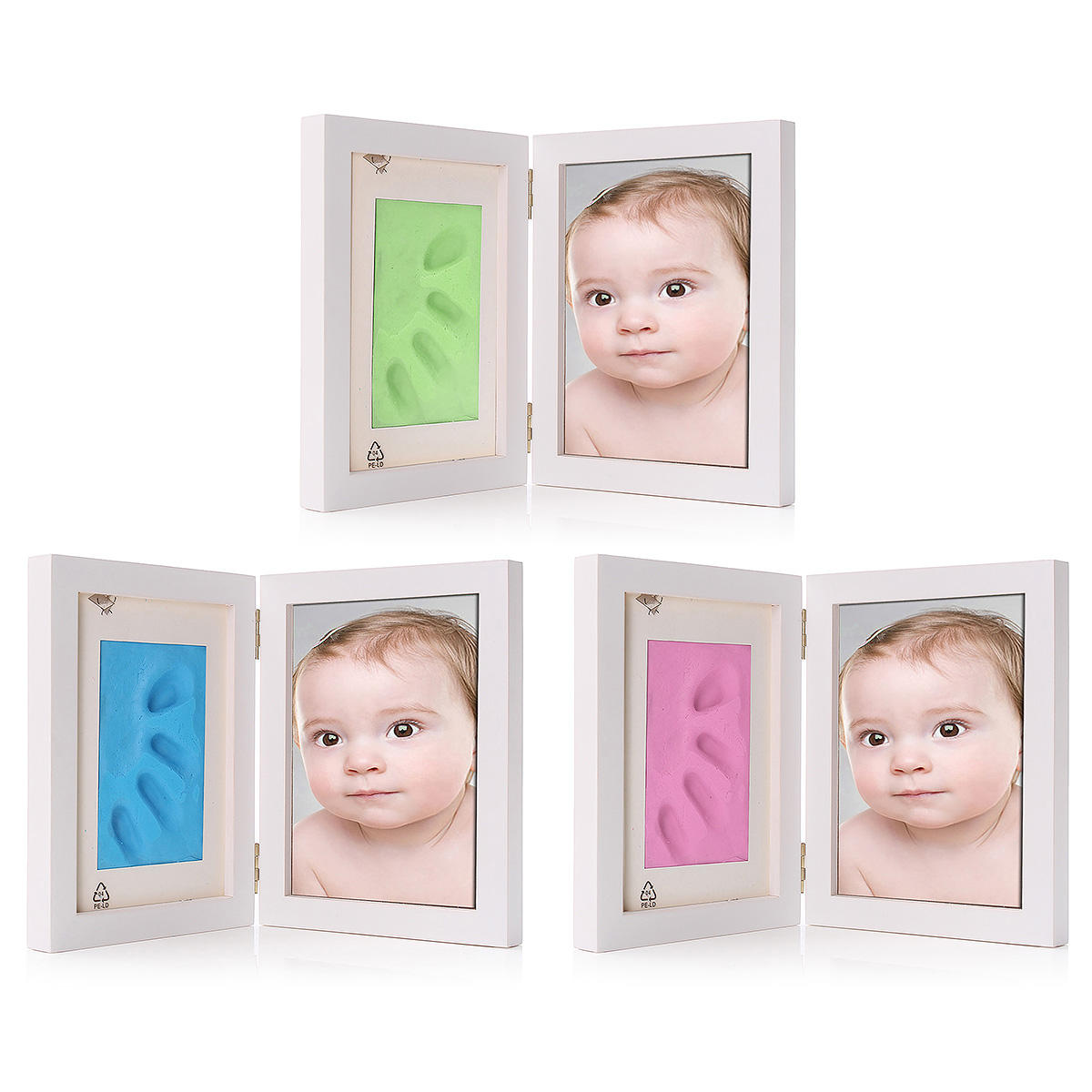 7 Inch New Born Baby Hnad Foot Print Clay Wood Photo Frame Stand Home Decor, Banggood  - buy with discount