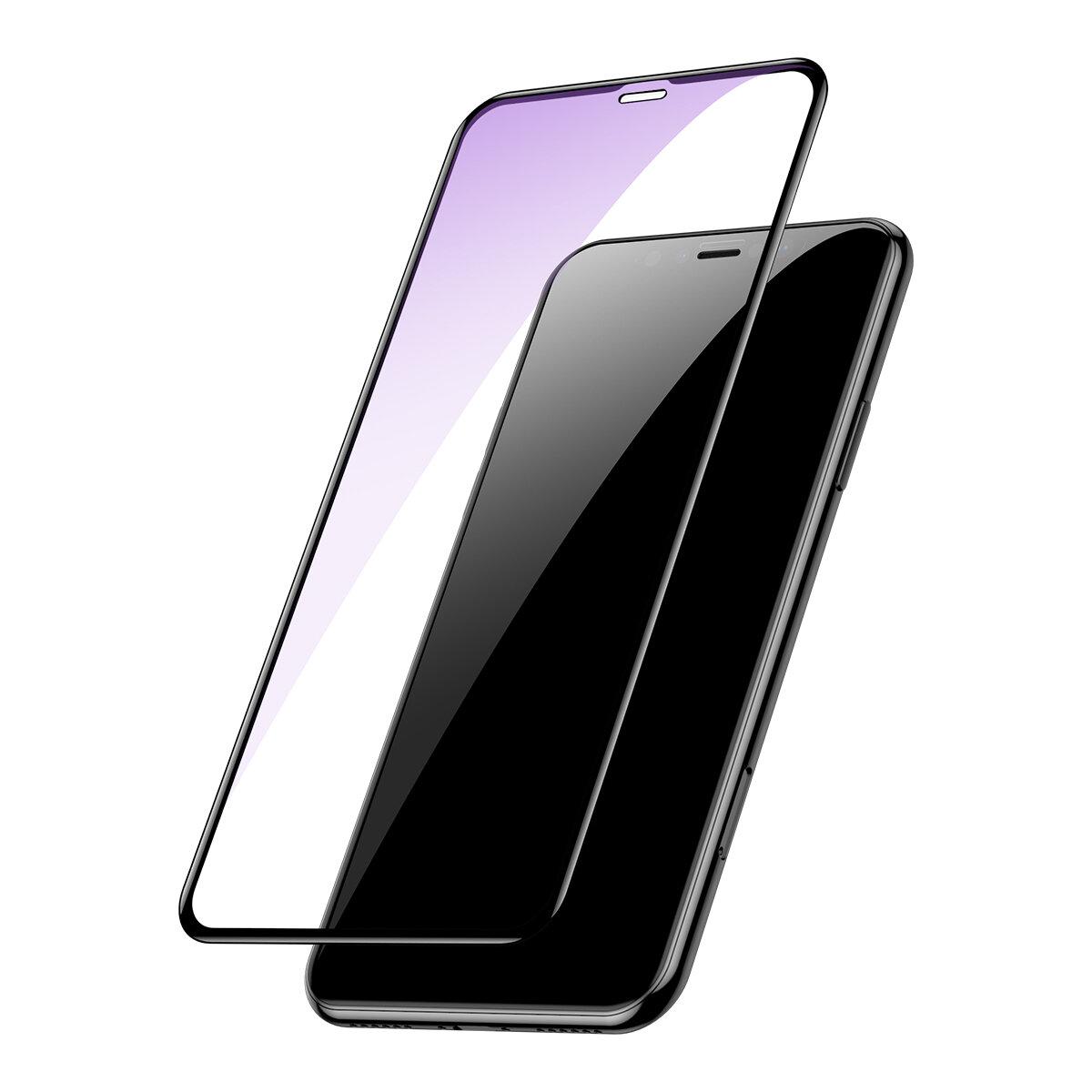 Baseus 0.2mm fullskjerm Arc Surface Clear / Anti Blue Light herdet glass skjermbeskytter for iPhone XS Max / iPhone 11 Pro Max