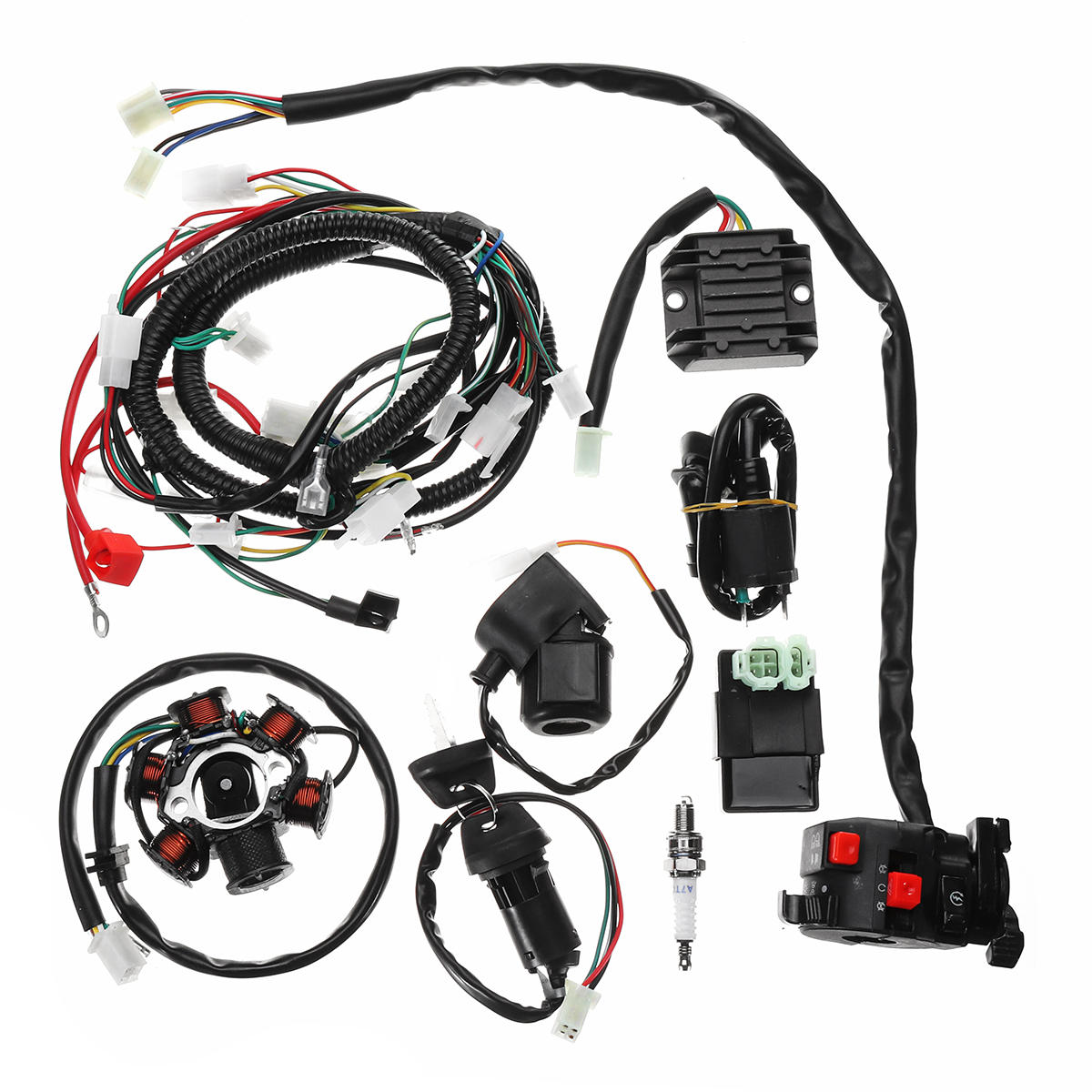 Full Electrics Wiring Harness Loom CDI Coil For GY6 150CC ATV Quad on