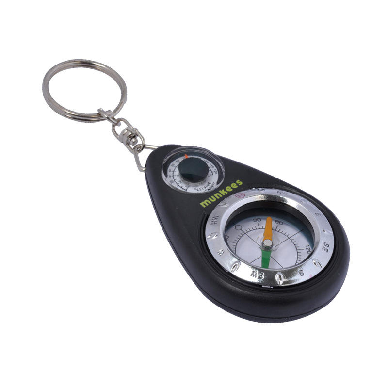 Munkees 3154 EDC 3 in 1 Multifunctional Keychain Compass Thermometer With Keyring