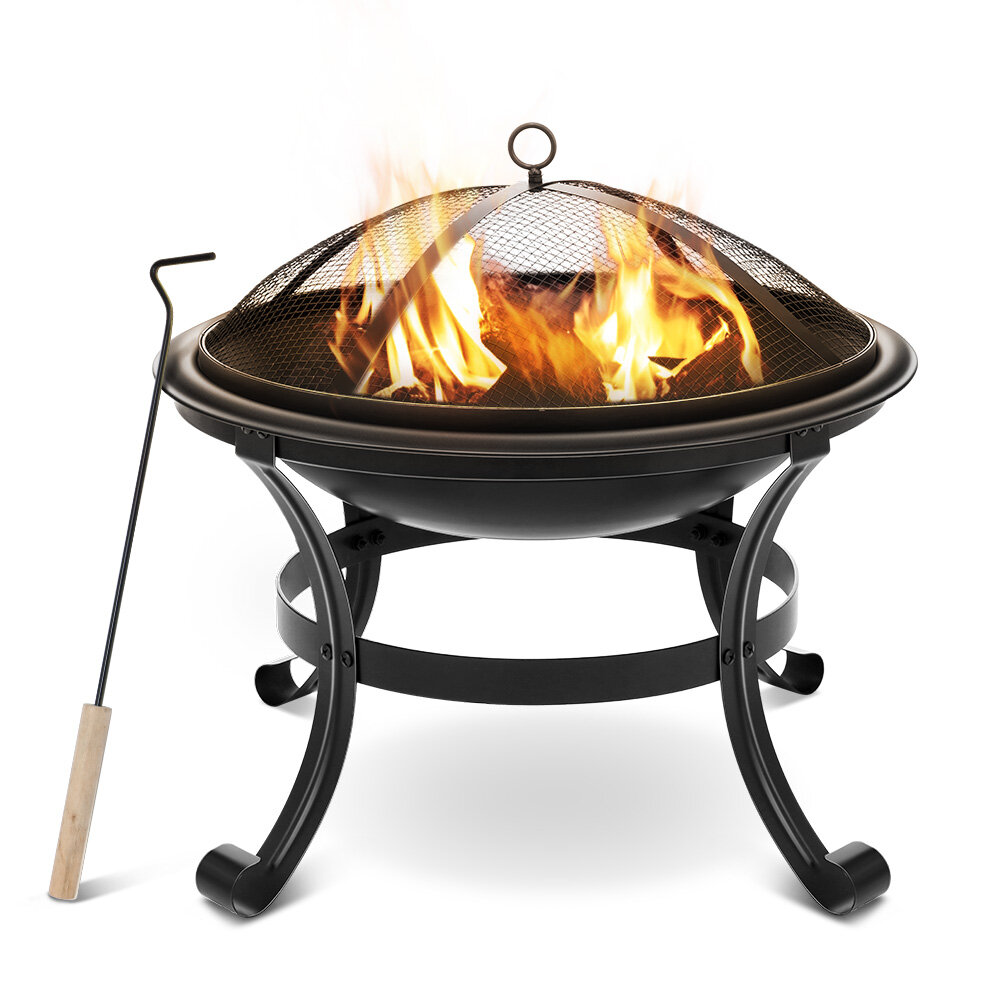 XMUND XM-CG1 22 Inch Steel Fire Pits Firepit With Mesh Screen Durability and Rustproof Fire Bowl BBQ Grill for Outdoor Wood Burning Camping Bonfire Garden Beaches Park