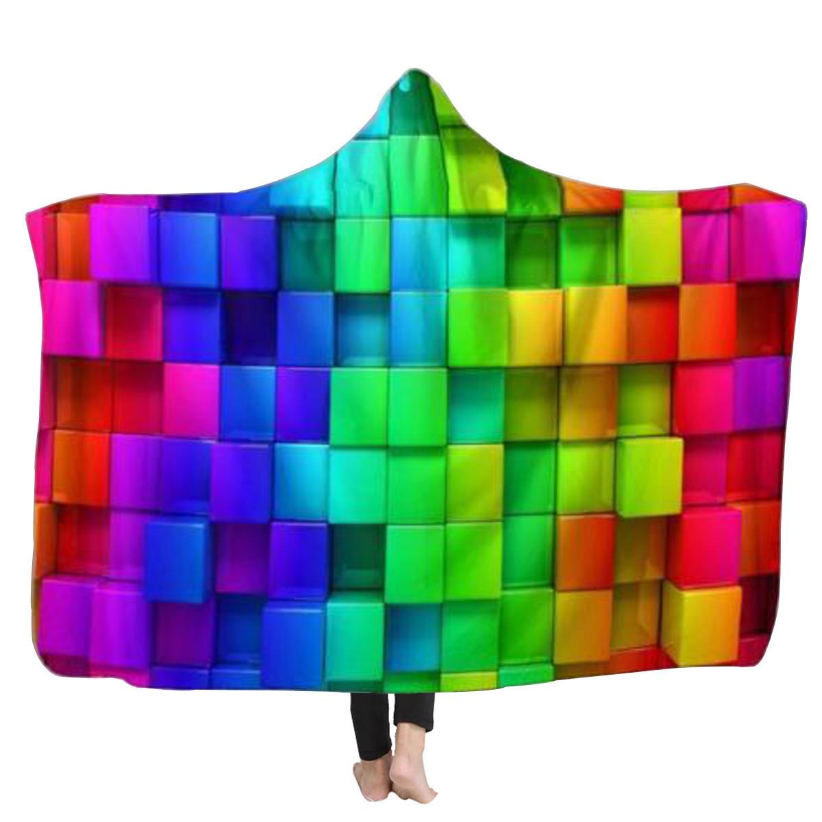دافئ 3D الملونة مكعبات مقنع بطانية لبس Soft منشفة أفخم حصيرة للكبار
