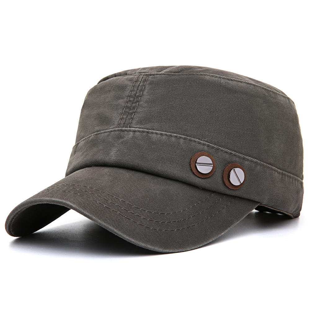 Men Cotton Flat Top Hats Outdoor Sunscreen Military Army Peaked Dad Cap
