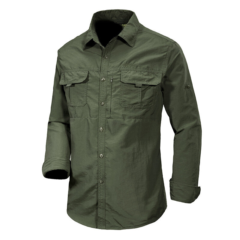 Men's 100% Nylon Casual Loose Breathable Quick Drying Double Pockets Outdoor Shirts