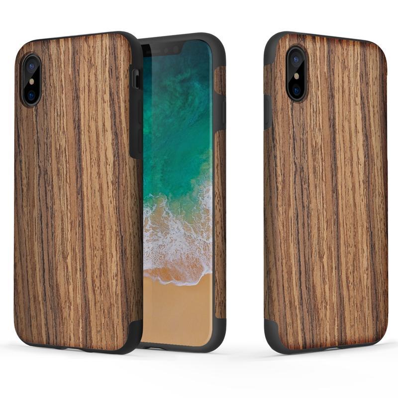 Rock Natural Wood Korn / Marmor Tekstur Bakdeksel Case For iPhone X