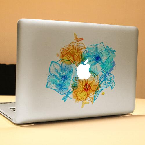 PAG Cây hoa dễ thương Trang trí máy tính xách tay Decal Có thể tháo rời Bong bóng Miễn phí Tự dính Da Nhãn dán