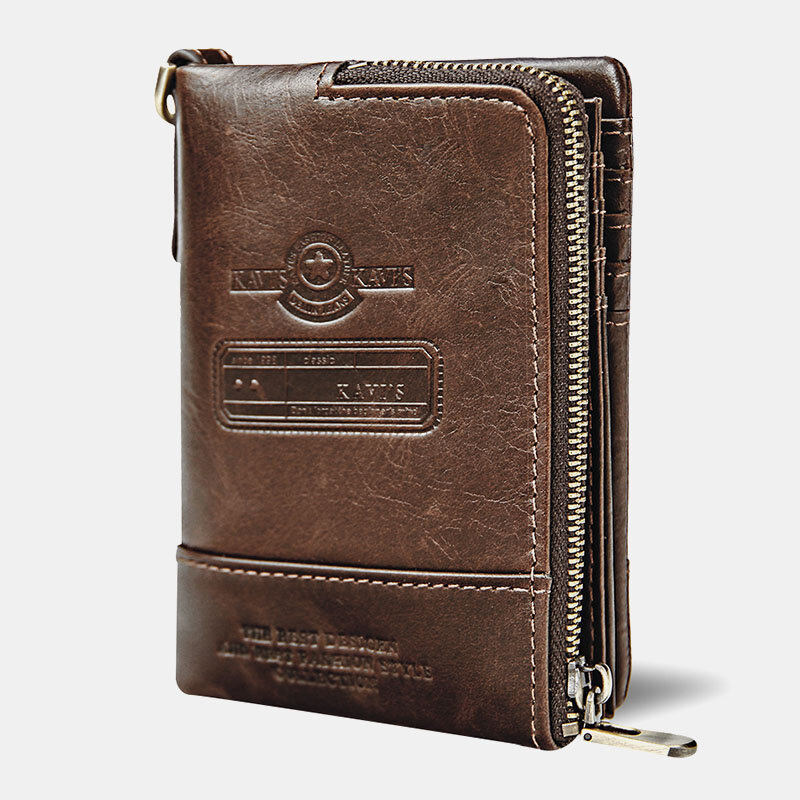 Men Genuine Leather Short Retro Multi-card Slot RFID Anti-theft ID Wallets Card Case Multifunctional Money Clip Coin Pur