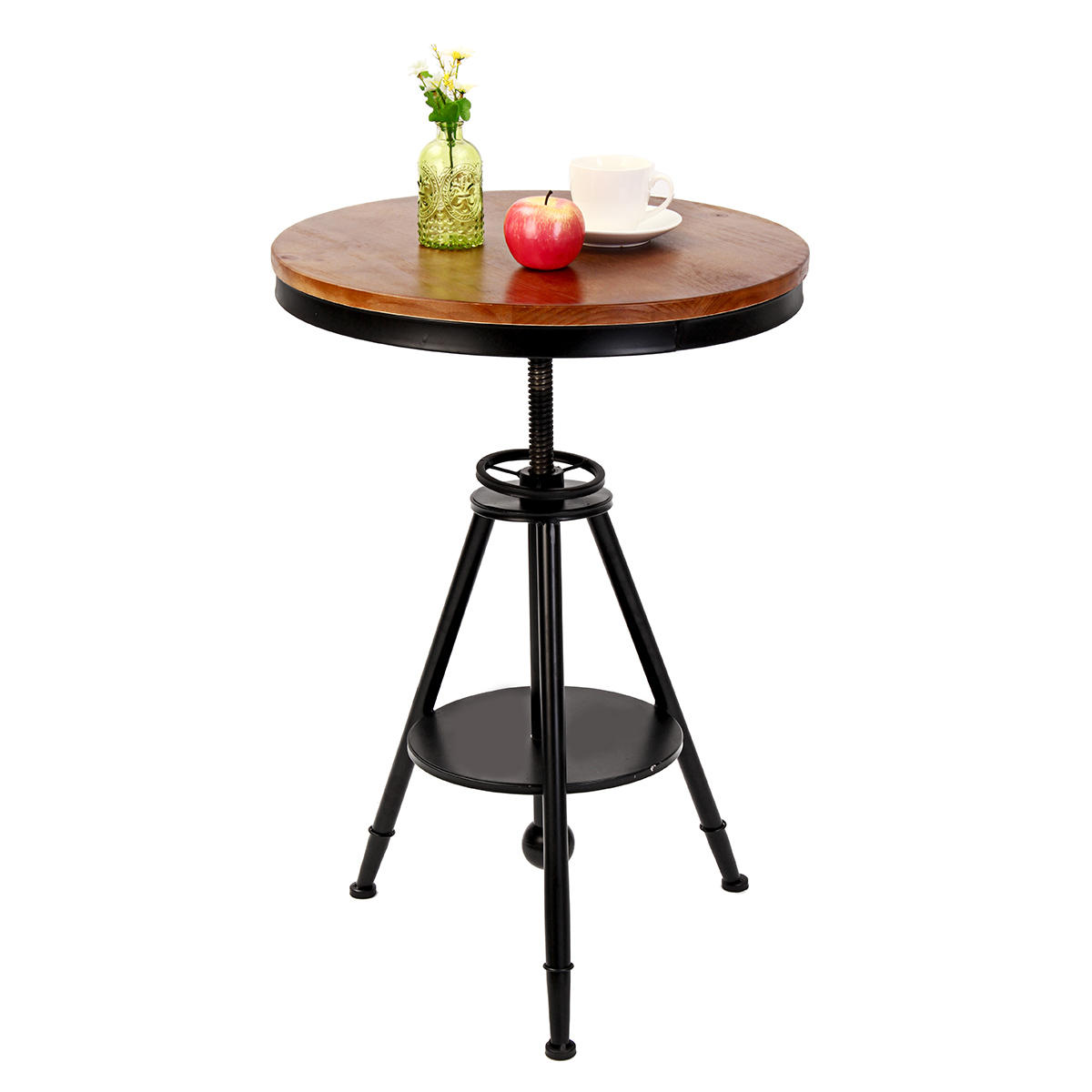 55cm Retro Round Dining Folding Table Lounge Bar Modern Metal Wooden Cafe Coffee Table