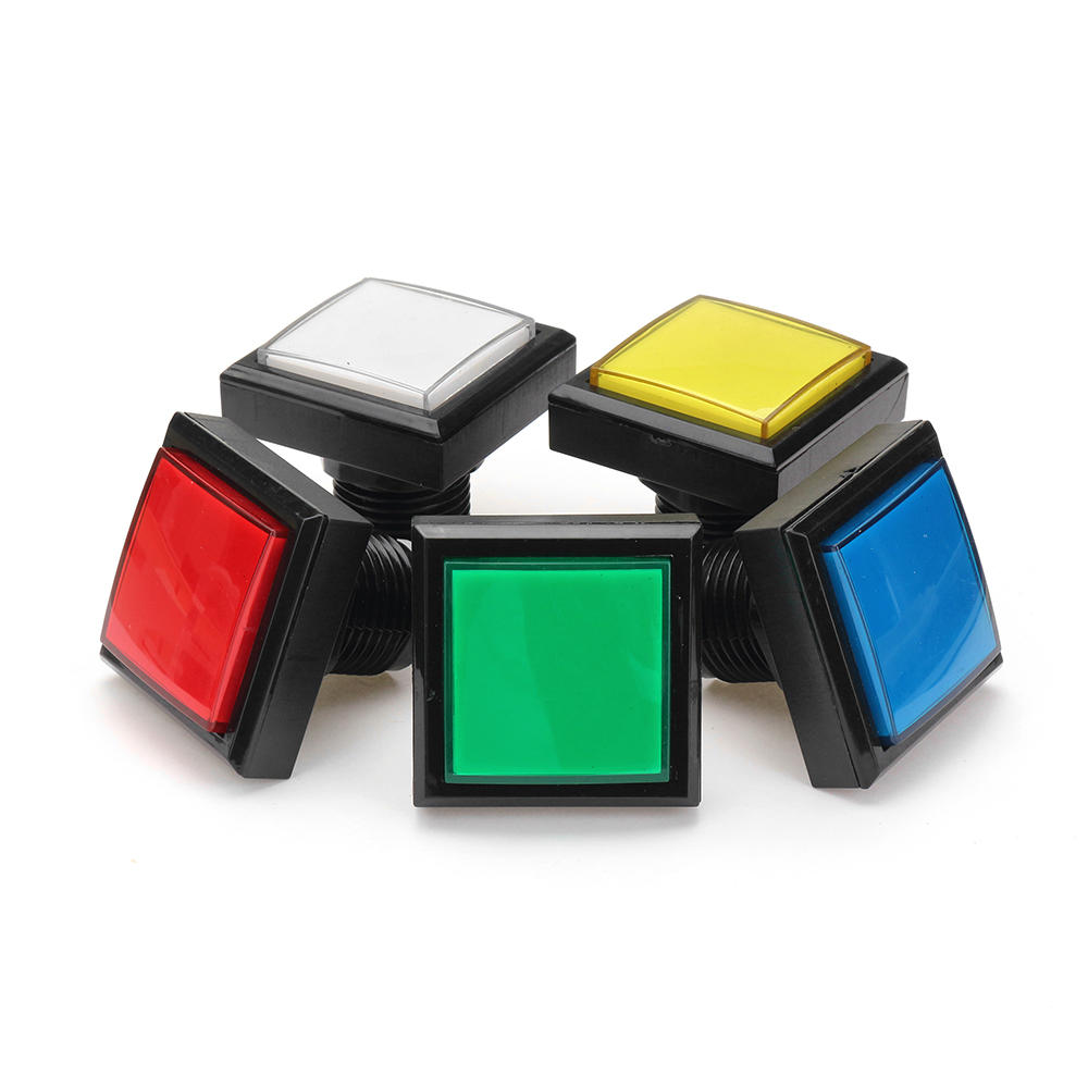 44x44mm Blue Red White Yellow Green LED Light Push Button for Arcade Game Console DIY