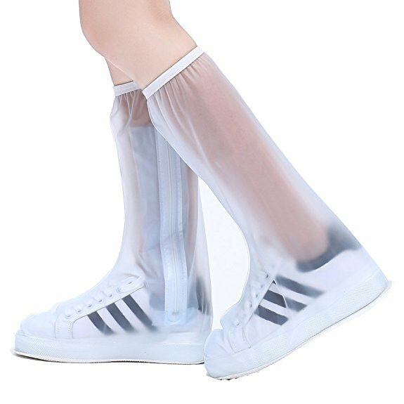 PVC Women Man Rain Shoes Cover Zipper Waterproof Rain Reusable Shoes Covers Slip-resistant Rain  Boots