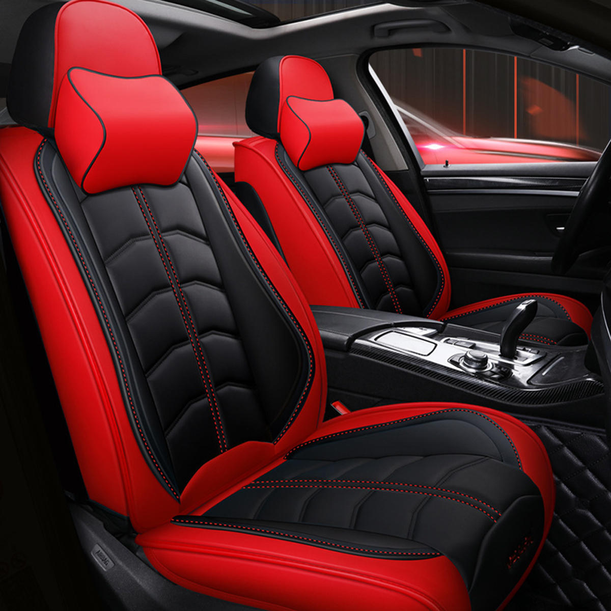 Universal Deluxe 5 Seat Car Leather Seat Front Rear Covers Cushion Pillows Sale Banggood Com