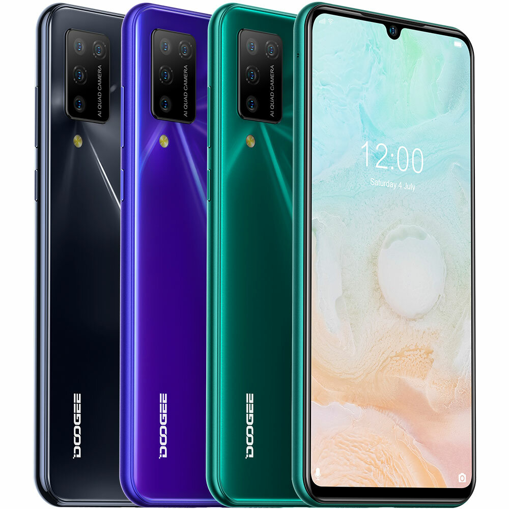 DOOGEE N20 Pro Global Version 6.3 inch FHD+ Waterdrop Display Android 10 4400mAh 16MP Quad Rear Camera 6GB 128GB Helio P60 Octa Core 4G Smartphone
