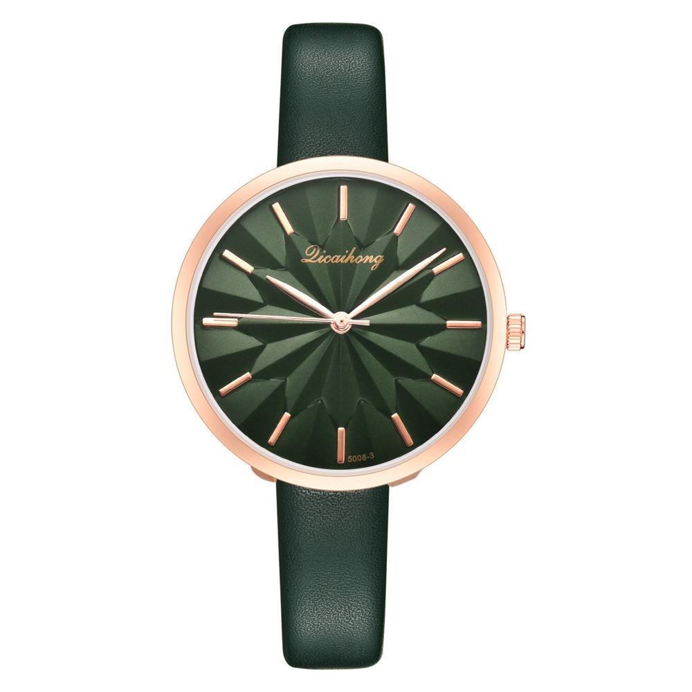 Colorful Leather Strap Simple Dial Fashion Gold Needle Ladies Dress Women Quartz Watch