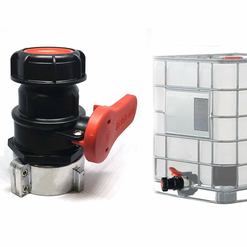 DN50 75mm Coarse Thread/Male Connector Chemical IBC Barrel Ball Valve Switch Fitting Acid and Alkali Resistant High Pressure Faucet Valve Adapter for Garden Backyard Home Villa Outdoor