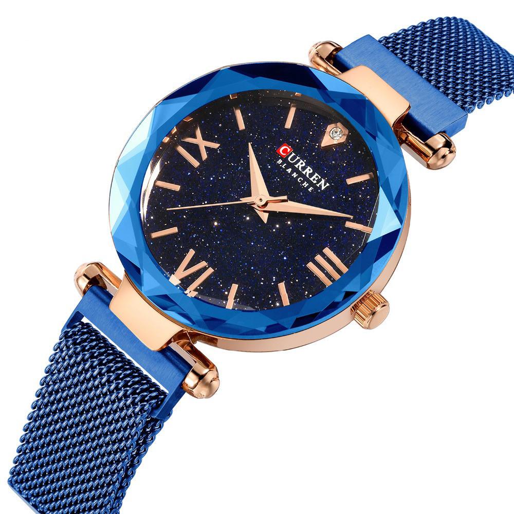 HIỆN TẠI 9063 Thiết kế thanh lịch Lãng mạn Sky Dial Show Phụ nữ Đồng hồ đeo tay Full Steel Thạch anh Đồng hồ đeo tay