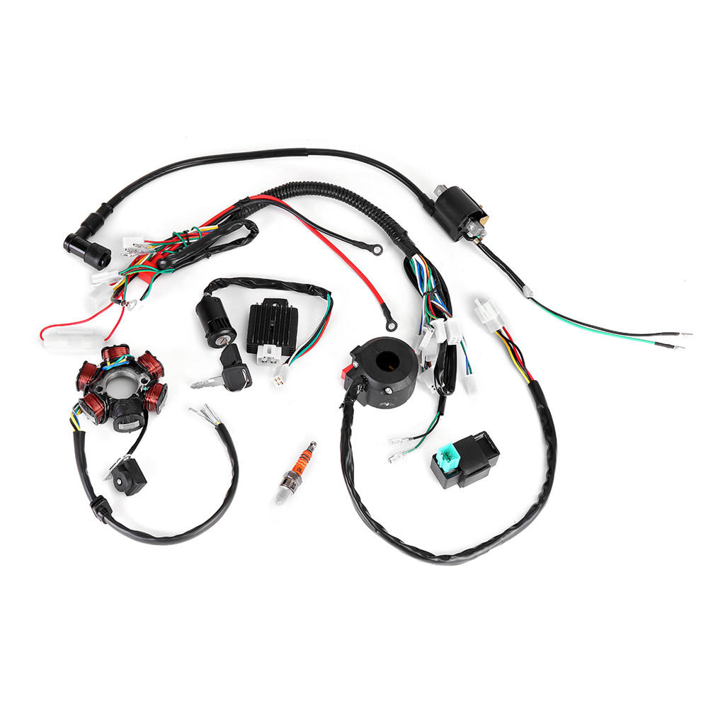 50cc 125cc mini atv complete wiring harness cdi stator 6 coil pole ignition electric chinese 250cc atv wiring diagram full electrics wiring harness cdi