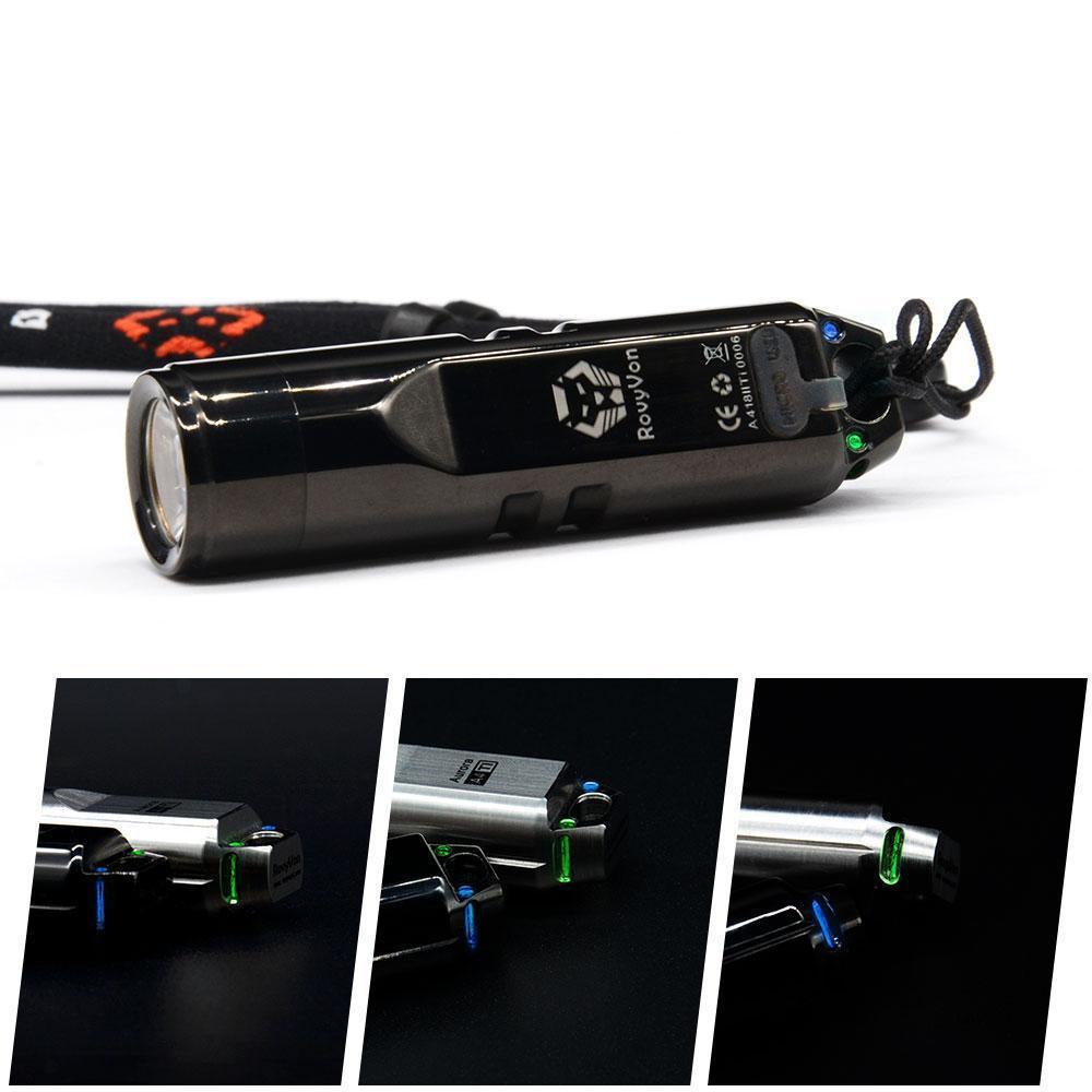 RovyVon Aurora A4 T1 550lm Mini Tritium Keychain Light USB Rechargeable Flashlight With Tritium Light