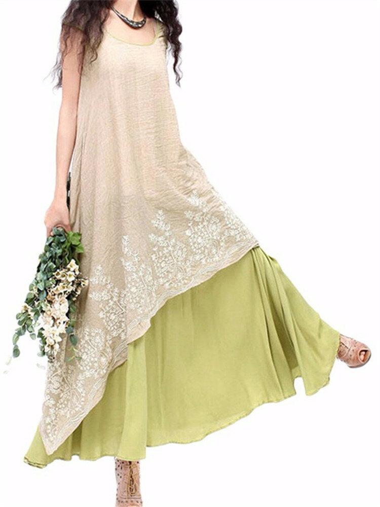 ヴィンテージ女性の刺繍は、半袖エレガントな不規則なドレスをレイヤード