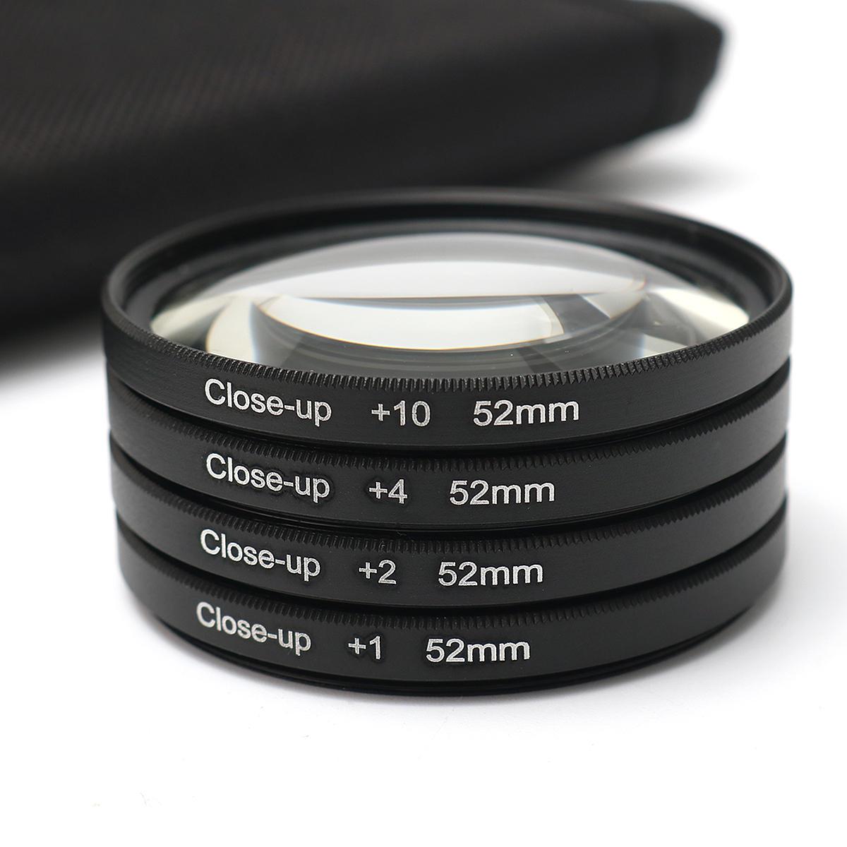 52MM Close Up Kit de Lentes Macro +1 +2 +4 +10 para Cámaras Digitales DSLR SLR
