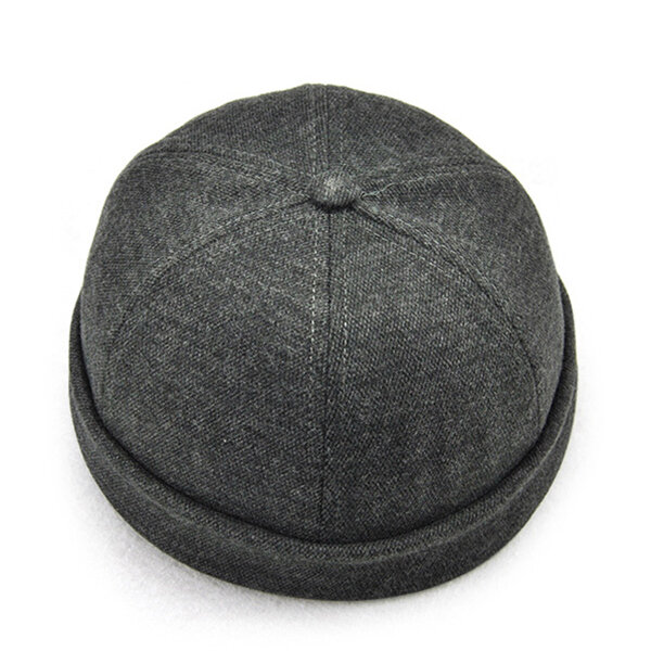 Men Solid French Brimless Hat Flanging Skullcap Sailor Cap Rolled Cuff Retro Bucket Cap